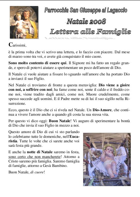 La lettera alle famiglie di Natale 2008