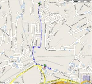 Cartina con le indicazioni per arrivare alla parrocchia